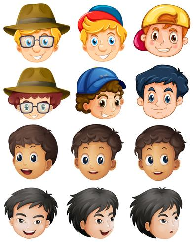 Different characters for boys with big smile