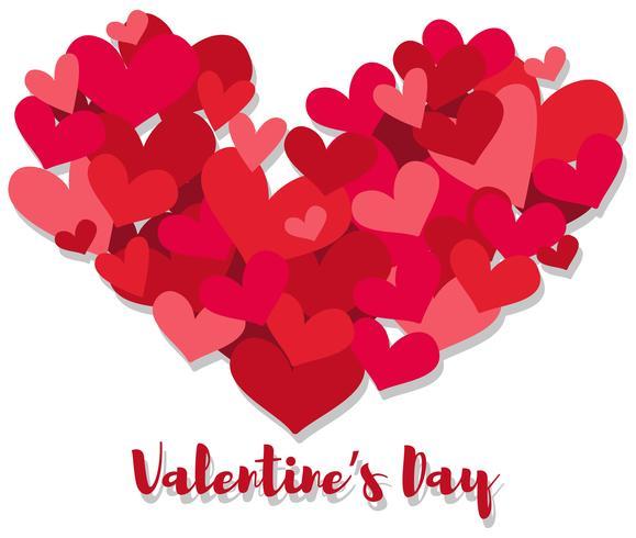 Plantilla de tarjeta de San Valentín con muchos corazones