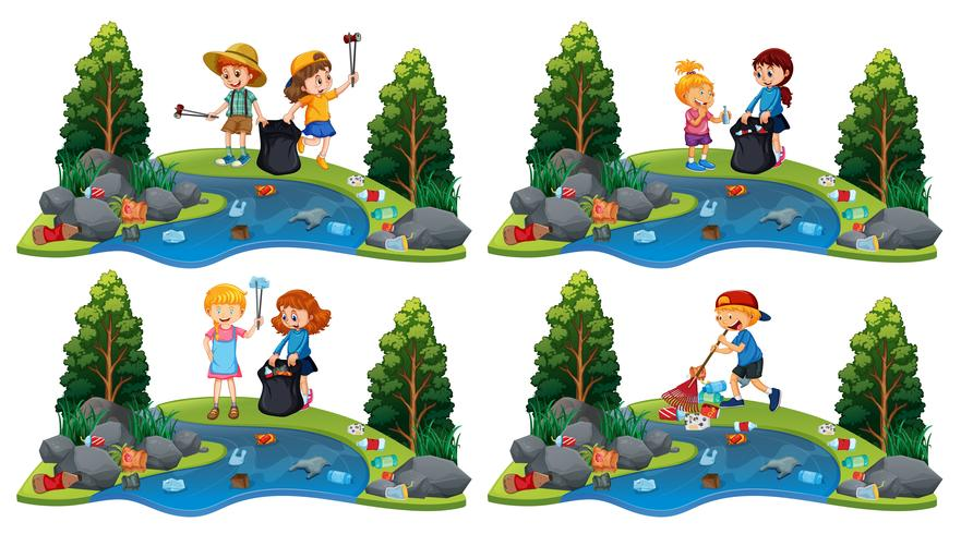 Ein Satz Kinder, die Fluss säubern