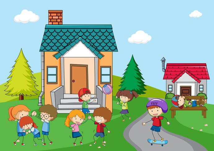 Crianças, tocando, em, casa rural