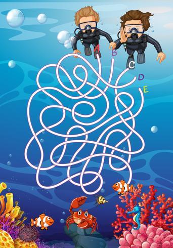 Subaquática com conceito de labirinto de mergulhador