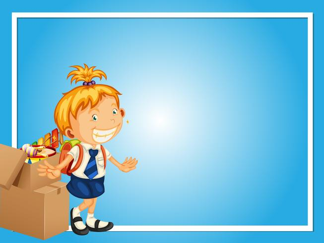 Border template with girl in school uniform