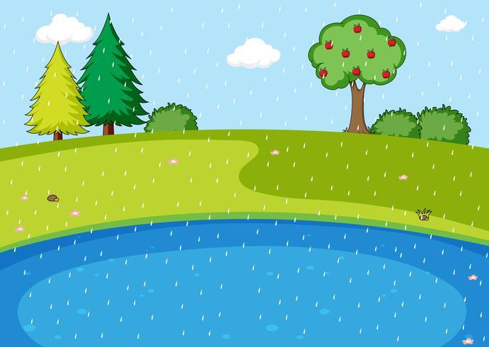 En scen av regn i naturen
