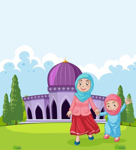 Um, muçulmano, mãe filha, em, frente, de, mesquita