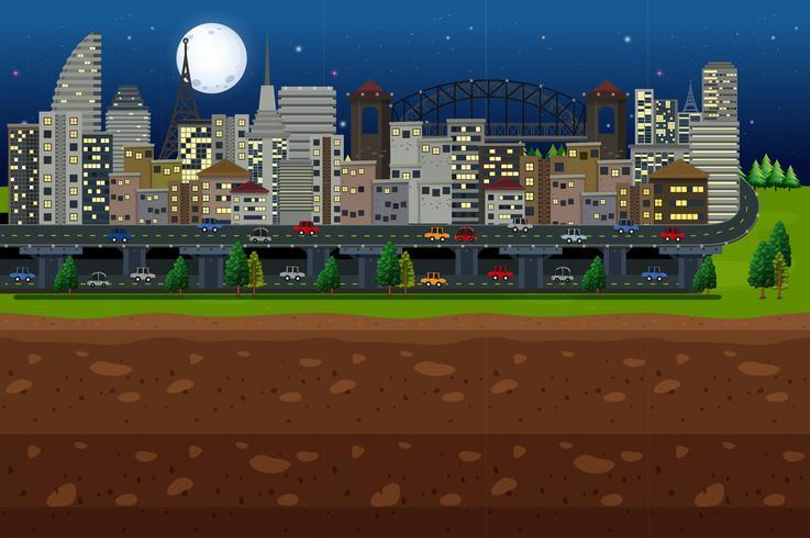 Een grote stad onder het maanlicht