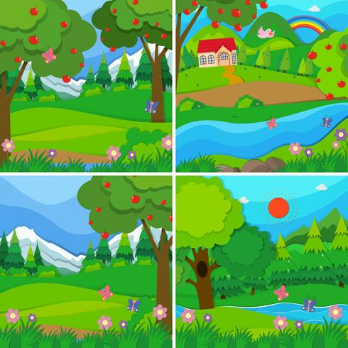 Four background scenes of orchards and woods