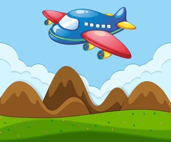 Een vlak landschap met vliegtuig