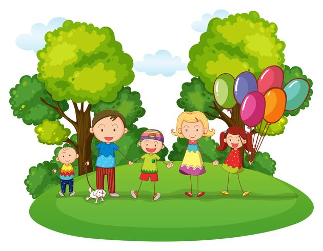 Famille avec trois enfants jouant dans un parc