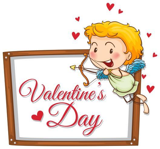 Cupido met schietende pijl op valentijnskaartkaart