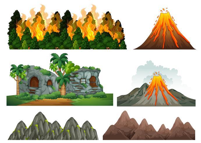 Een reeks natuurrampen vector