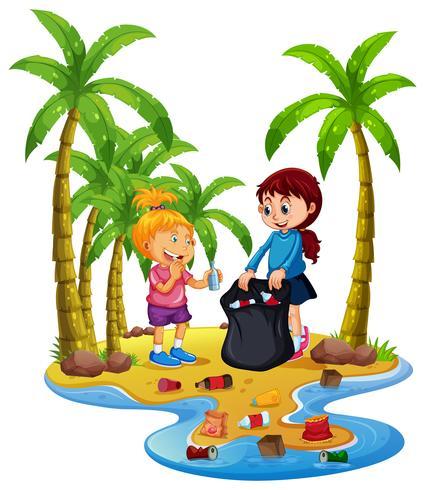 Voluntário crianças coletando lixo na ilha