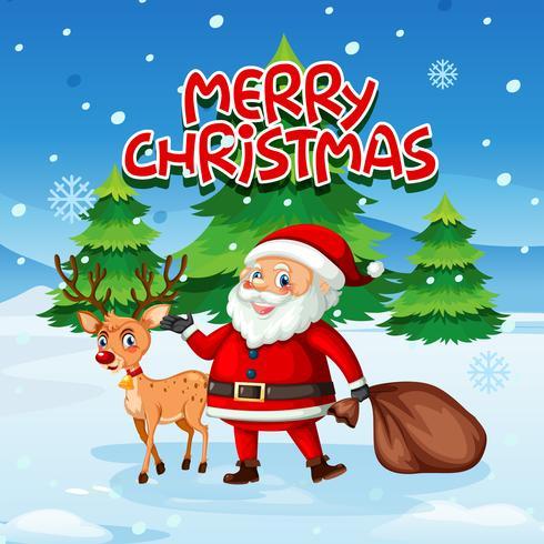 Père Noël et cerf dans la neige