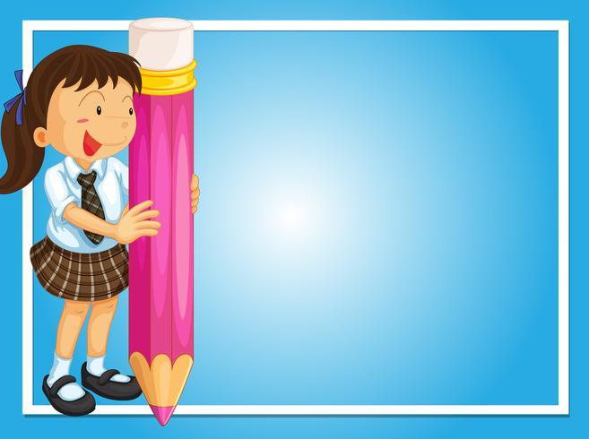 Feldauslegung mit Mädchen und riesigem Bleistift