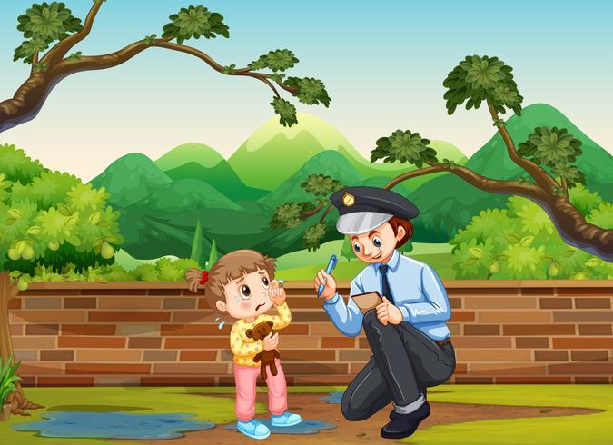 Huilend meisje en politieagent in het park