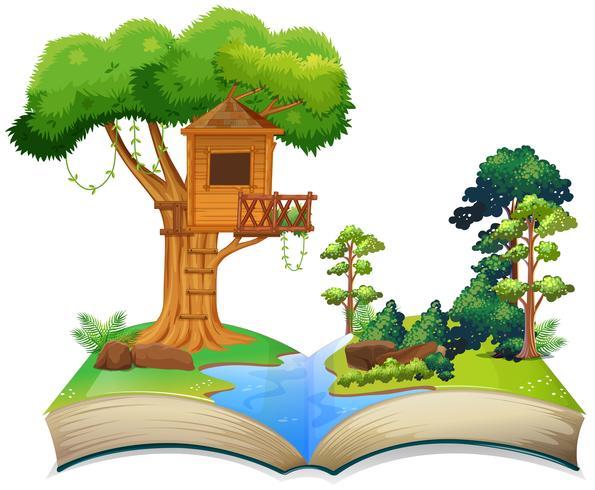 Treehouse de la rivière sur un livre
