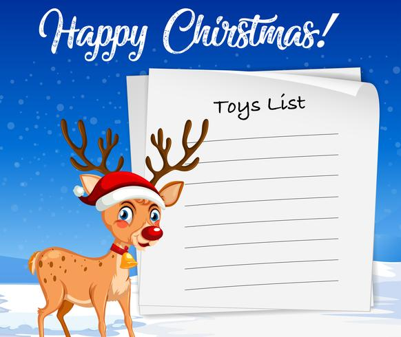 Speelgoedlijst voor kerstsjabloon