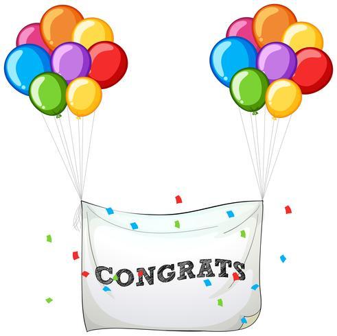 Balões coloridos com banner para palavra parabéns
