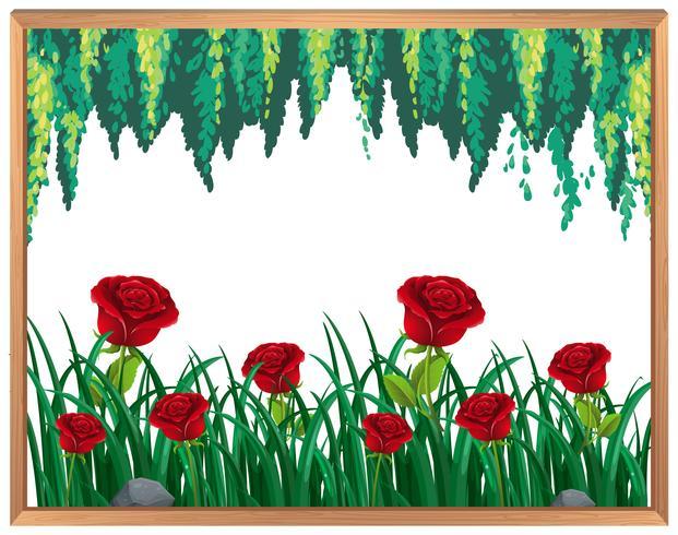 Marco de rosas rojas y plantas