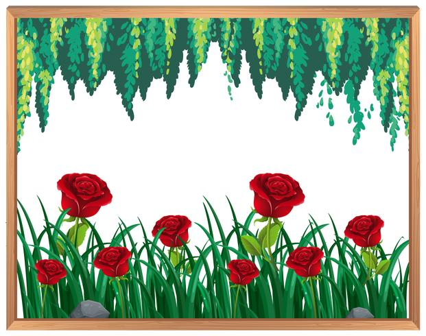 Rode rozen en planten Frame