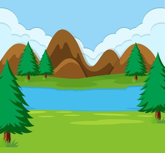 A simple landscape scene vector