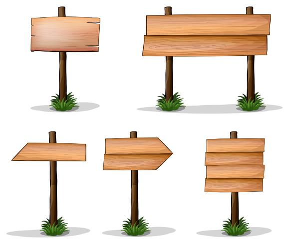 Vijf houten tekens op witte achtergrond