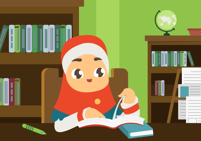 Muslim Child Studying in Library Vector Illustration
