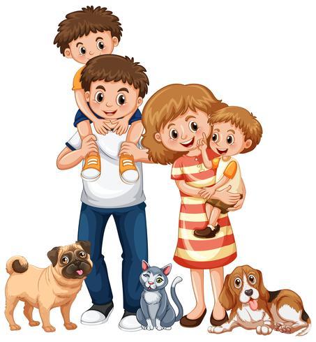 Familia con dos niños y mascotas.