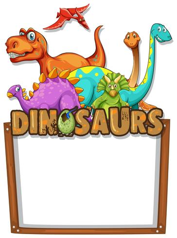 Modello di banner con un sacco di dinosauri