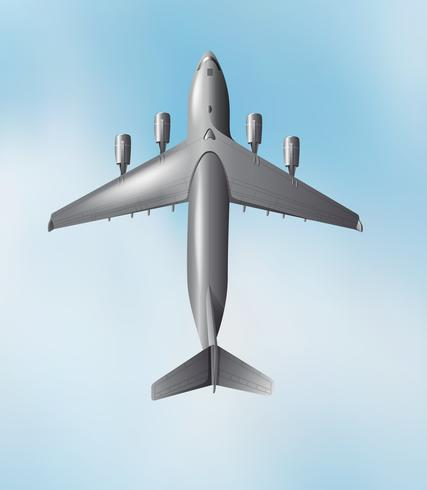 Vista aérea de avión volando en el cielo