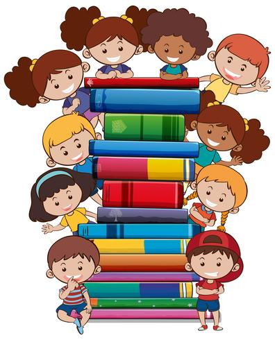 Books with children on white background