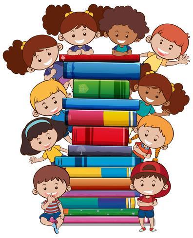 Livros com crianças no fundo branco