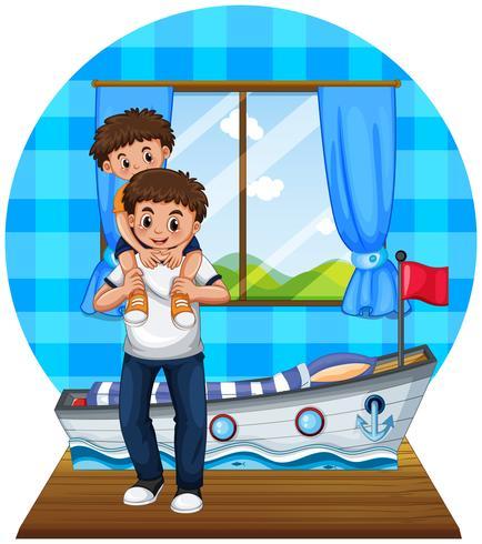 Padre e hijo en dormitorio