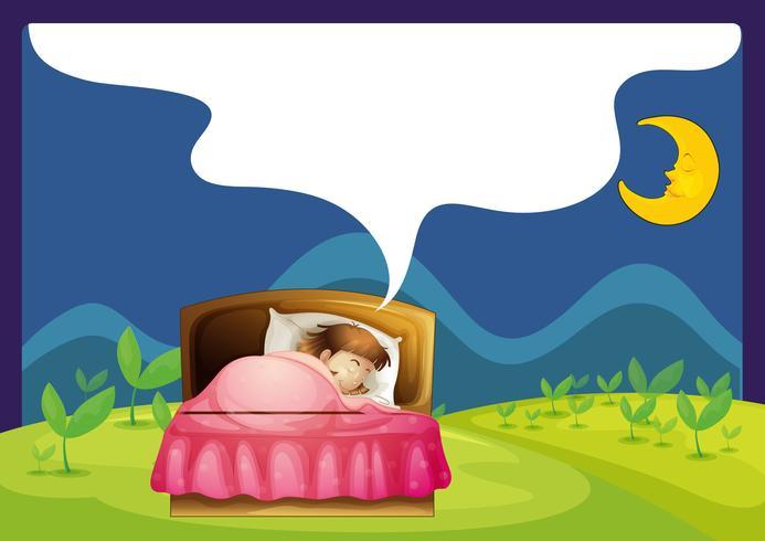 Una niña durmiendo en una cama