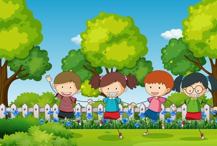 Scen med fyra barn i parken