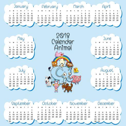 Kalendermall för 2018 med många djur