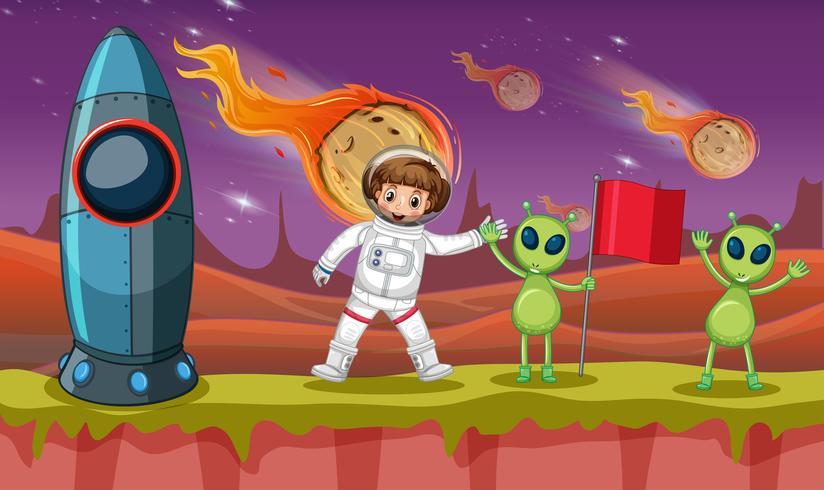 Astronauta y dos extraterrestres en planeta extraño.