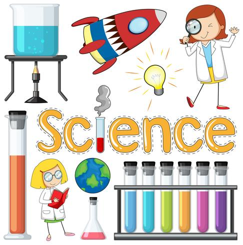 Elemento científico y equipos sobre fondo blanco