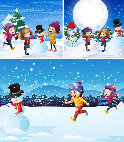 Crianças, tocando, com, boneco neve, em, a, neve