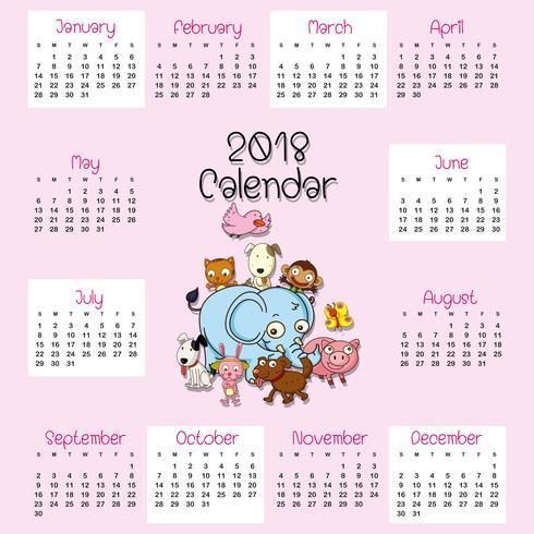 Modelo de calendário 2018 com animais fofos