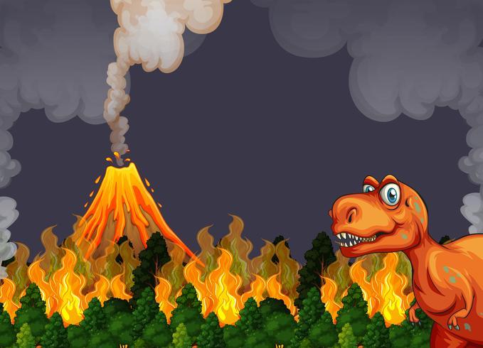 Een dinosaurus loopt weg van de vulkaanuitbarsting