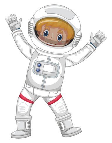 Astronaute en combinaison spatiale blanche sur fond blanc