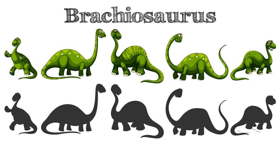 Brachiosaure dans cinq actions différentes