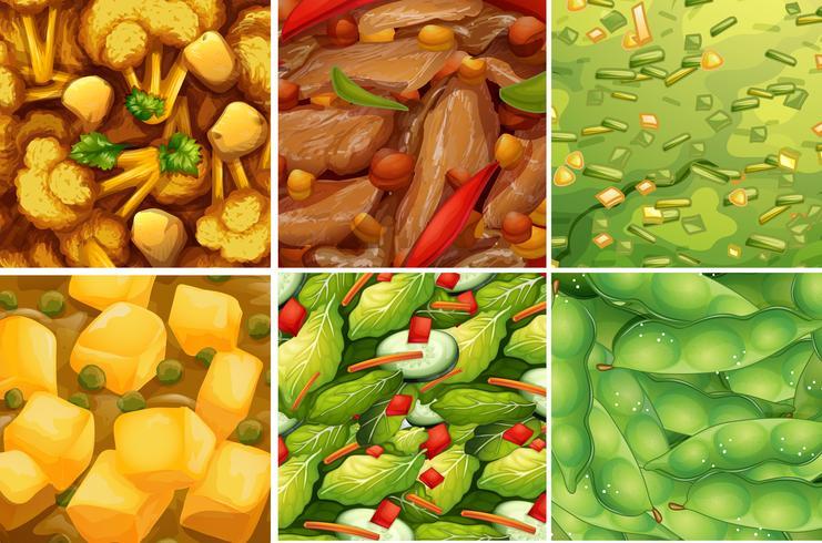 Närbild hälsosam matuppsättning vektor