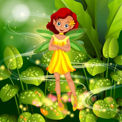 Fada amarela voando no jardim vetor