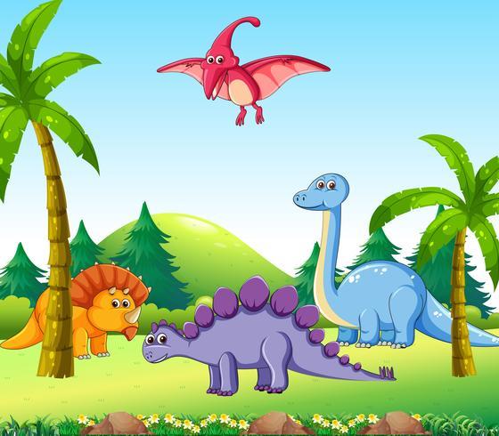 Unterschiedlicher Dinosaurier in der Natur