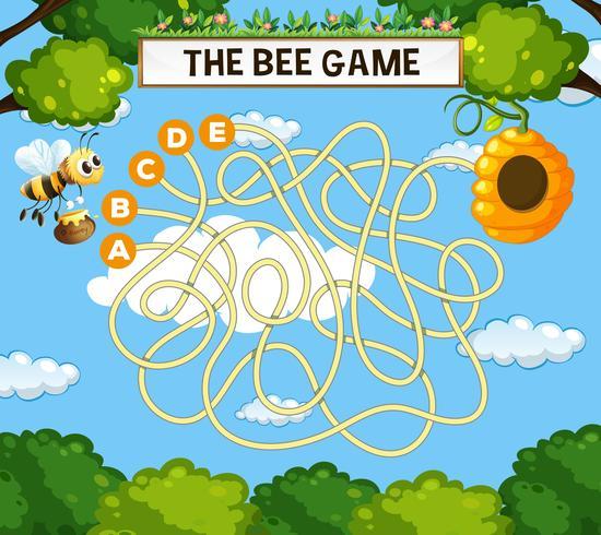 De bijen doolhof spel sjabloon