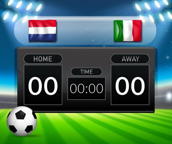 netherlands vs italy score board vector