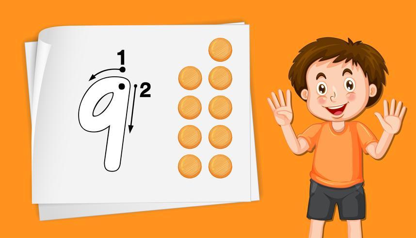 Niño con el número nueve de hojas de trabajo de rastreo vector