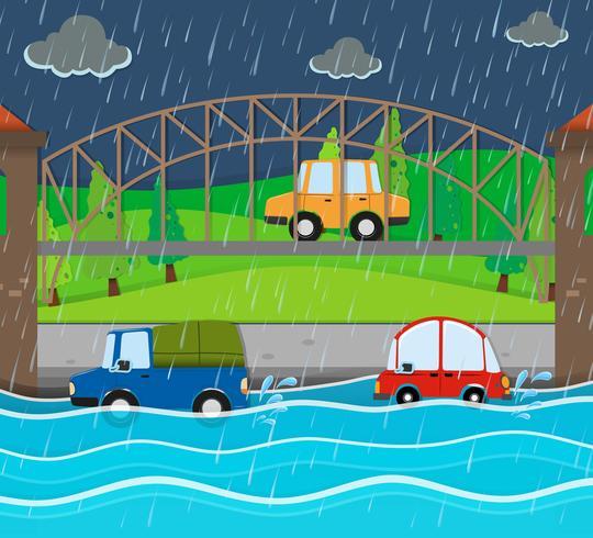Route inondée la nuit pluvieuse