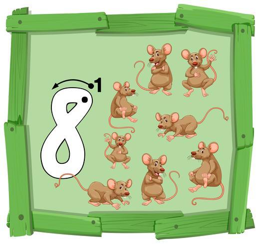 Número oito na bandeira de madeira